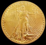 1920 Gold Usa 20 Saint Gaudens Double Eagle Coin Mint State