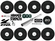 Hammer Strength Life Fitness Premium Commercial Rubber Olympic Bumper Plates++