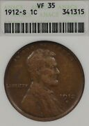 1912-s 1c Anacs Vf35 Lincoln Wheat Penny One Cent, Old Soapbox Holder