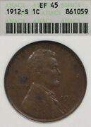 1912-s 1c Anacs Xf45 Ef45 Lincoln Wheat Penny One Cent Old Soapbox Holder