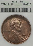 1917-d 1c Anacs Ms61 Rb Lincoln Wheat Penny Red Brown, Old Soapbox Holder