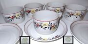 Antique 1920s Russian Tea Cup And Saucer Porcelain Set 5 Enamel Flowers Red Yellow