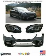 Aftermarket 14-17 S63 Style Front Bumper Kit And Headlight Fit Amg S Class S65 550