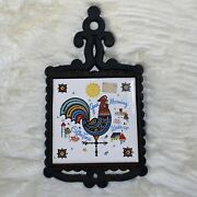 Rooster Coffee Trivet Cast Iron Finial / Ceramic Tile Green Multi Color - Japan