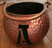 Copper Planter Metal With Handle Letter A Metalware Collectible Home Garden