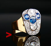 1960 Nordic Ring 1.2 Ctw Sapphires 1.1 Ct Diamonds Solid 18k Gold Us 5.75/ 7.7 G