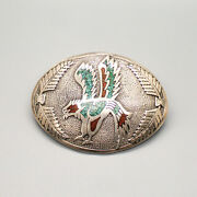 Navajo-vintage Sterling Silver And Chip Inlay Eagle Belt Buckle By Tommy Singer