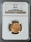 1893 Gold United States 5 Liberty Head Half Eagle Coin Ngc Mint State 63