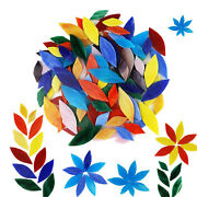 100x Mixed Colors Mosaic Tiles Flower Leaves Hand-cut Stained Glass Art