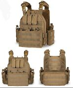 Coyote Tan Tactical Outdoor Bug-out Plate Carrier Vest