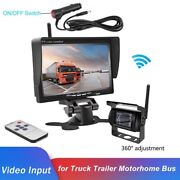 Wireless 7 Vehicle Rear View Monitor+back Up Camera For Truck Rv Trailer Camper