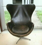 Mid Century Arne Jacobsen Style Egg Chair Gray Brown Leather Vintage