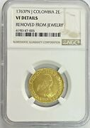 1763 Pn J Colombia 2 Escudos Gold Coin Ngc Vf Details