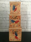 Vintage Sugar Coffee Tea Set Of 3 Canisters Dovetail Wood Rooster Japan Cottage
