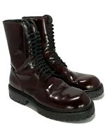Ann Demeulemeester Burgundy Military Style Lace Up Boots 37.5 1595