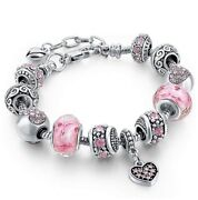 18k Gold Plated Heart Pink Cz Murano Charm Bracelet Made With Elements
