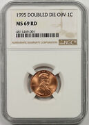1995 Doubled Die Obverse Lincoln Memorial Penny 1c Ms 69 Rd Red Ngc Ddo