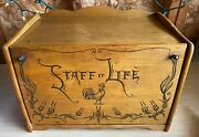 Vintage Staff Of Life Wooden Bread Box W/ Rooster