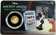 2017 Gold Disney Mickey Mouse Mickeyand039s Delayed Date .5 Gram Niue 2.5 Proof Coin