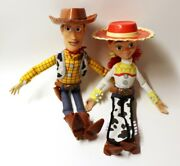 Disney Store Toy Story Woody And Jessie Pull-string Electronic Talking Doll Set