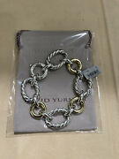 David Yurman Cable And Smooth Link Bracelet . Sterling Silver And 18k Gold