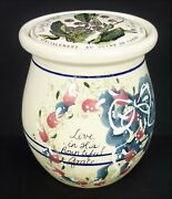 Crock Yesteryears Vtg Marshall Tx Pottery Live In His Grace Cherry Fruit Lid