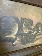 Antique Stunning Oil Painting Mama Cat And Kittens Antique Frame