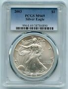 2003 American Eagle 1 Pcgs Ms69 1oz .999 Silver Coin In Slab