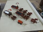 Lot Of 4 Vintage Horse Drawn Wagons Cast Iron Coca Cola Fruit Toy Metal Antique