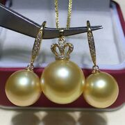 14-15 Mm Round Natural South Sea Gold Pearl Pendant 11-12 Mm Earrings 18 K Gold