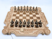 Deluxe Handmade King's Wooden Chess Set Foldable Carved From Natural Beech Wood