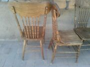 Antique Pressed Back Dining Chairs Country Kitchen Grandma Decor America Five