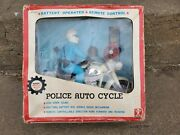 Vintage Bandai Police Auto Cycle Tin Battery R/c Japan Action Toy Motorcycle