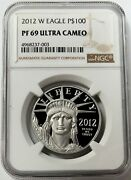 2012 W Platinum 100 Proof American Eagle 1 Oz Ngc Pf 69 Ultra Cameo