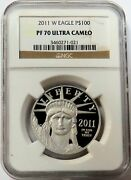 2011 W Platinum 100 American Eagle Proof 1 Oz Coin Ngc Pf 70 Uc