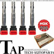 Ngk V-power Premium Copper Spark Plugs + Engine Ignition Coil For 08-16 Audi A5
