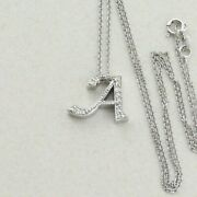 14k White Gold Initial A Diamond Initial Necklace Letter A 16 Inch Chain