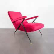 Reclining Armchair Red Velvet Metal 50and039s Vintage Design