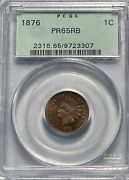 1876 Indian Head Cent 1c Penny Pcgs Proof 65 Red Brown Ogh Toned