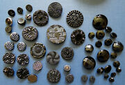 49 Antique Black Glass Fashion / Mourning Buttons