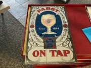 Vtg Pabst Blue Ribbon Beer Mirror Sign On Tap Rare 12x19.75