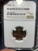 1950 Lincoln Cent Ngc Pf 66 Pr 66 Rd Ultra Cameo. Awesome Uc Contrast. Rare.