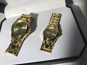 Pair Of Geneva Watches His And Hers Wristwatch Gold Tone Classic Collection