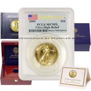 2009 20 Gold Ultra High Relief Pcgs Ms70pl First Strike Proof Like Coin W/ogp
