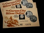 Carson City Miniature Solid Sterling Silver Dollar - 3 Cards With Serial No.and039s