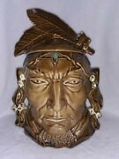 Vintage 1950and039s Mccoy Chief Pontiac Indian Ceramic Cookie Jar Rare Collectible