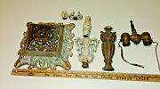 Vintage Cast Iron Floor Lamp Double Socket Topper And Base Parts Or Repair