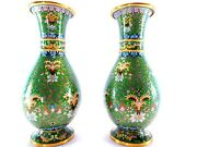 10 Antique Green Chinese Cloisonne Vases Large 10 Inch Pair Mint Condition