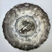 Vintage Pure Silver T100 Decorative Embossed Burnished Wall Mount 10 Plate