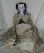 Antique Huge Flat Top China Head Doll All Original 26 As Is Read Rare 333.33